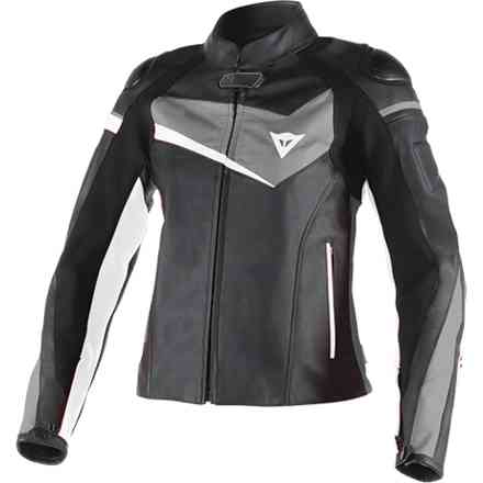 Leather jacket Veloster Lady black anthracyte white Dainese