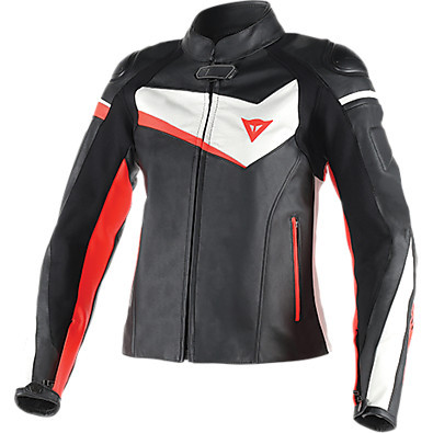 Leather jacket Veloster Lady black-white-red fluo Dainese