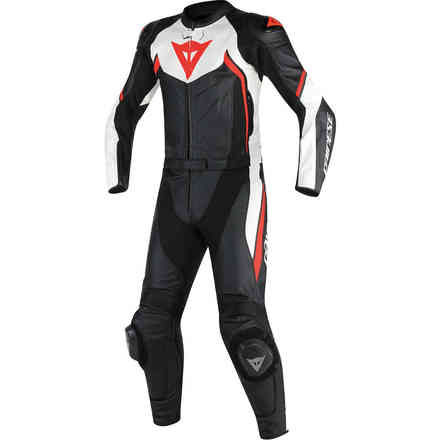 Leather Suit Avro D1 Two Pieces Tall Black White Red Fluo Dainese