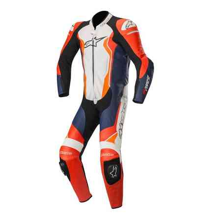 Leather Suit Gp Force Leather 1 Pc Red Fluo Black White Alpinestars