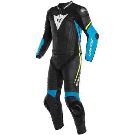 Leather Suit Laguna Seca 4 2pcs Black Fire-Blue Yellow Fluo Dainese