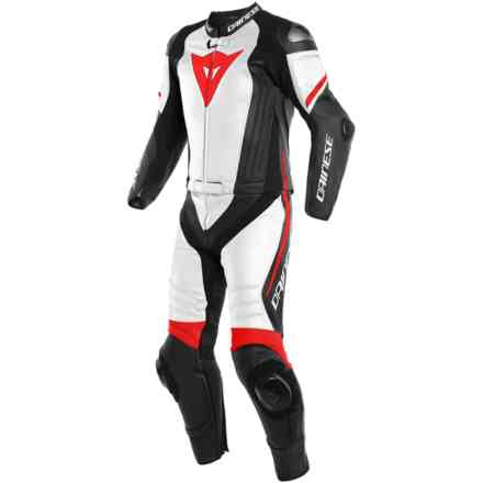 Leather Suit Laguna Seca 4 2pcs Black Matt White Fluo-Red Dainese