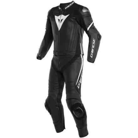 Leather Suit Laguna Seca 4 2pcs Black Matt White Dainese