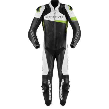 Leather Suit Race Warrior Perforated Black Green Kawasaki Spidi