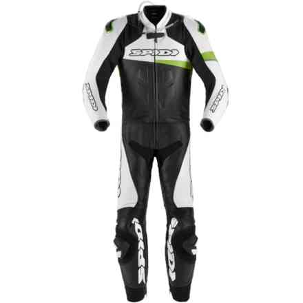 Leather Suit Race Warrior Touring Black Green Kawasaki Spidi