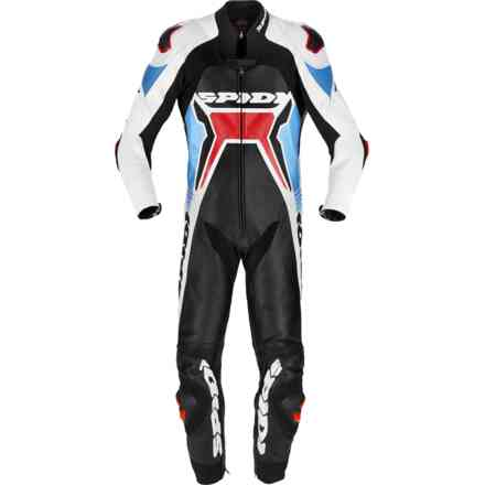 leather suit Warrior 2 Wind Pro red Light-Blue Spidi