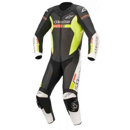 Leather Suits Gp Force Chaser Leath Suit 1 Pc Black White Yellow Alpinestars