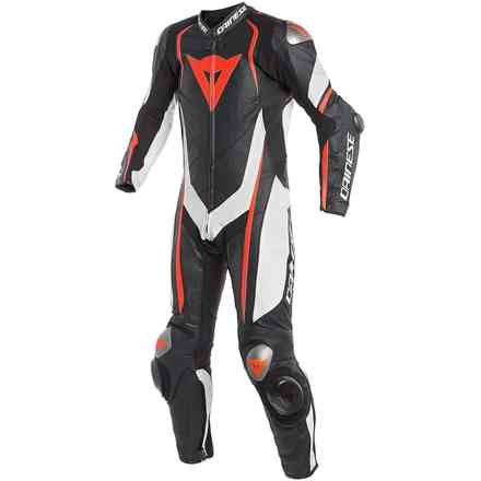 Ledercombi Kyalami 1pc Perforated Schwarz Weiss Rot fluo Dainese