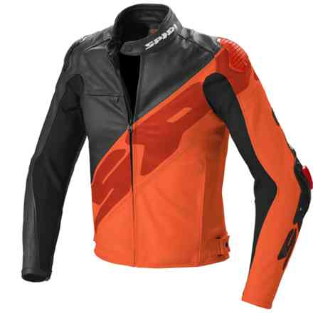 lederjacke Super-R Schwarz Orange Spidi