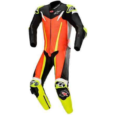 Lederkombi Gp Tech V3 1 Pc T-Air Rot Fluo Schwarz Alpinestars
