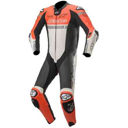 lederkombi Missile Ignition 1pc Tech-Air Rot fluo Weiss Schwarz Alpinestars