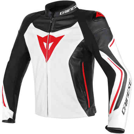 Lether jacket Assen perforated white black red Dainese