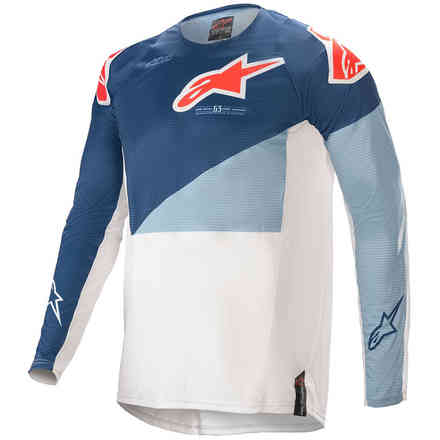 Maglia Cross Techstar Factory Blu Scuro Celeste Alpinestars