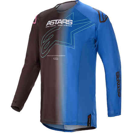 Maglia Cross Techstar Phantom Nero Blu Alpinestars