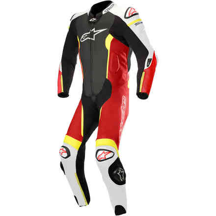 Missile 1 Pc Tech Air Compatible leather suit black white red yellow fluo Alpinestars