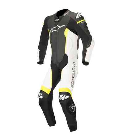 Missile Tech Air Compatible leather suit black white yellow fluo Alpinestars