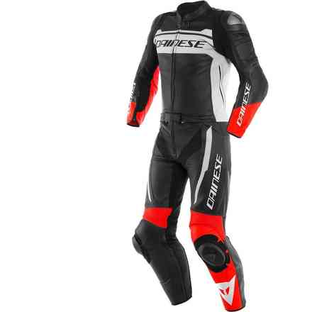 Mistel 2pcs Leather Suit black matt white lava red Dainese
