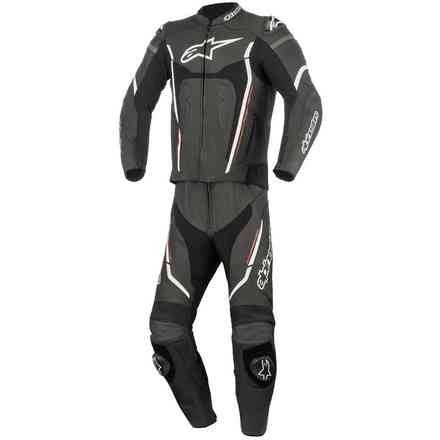 Motegi V2 2pc Leather Suit black white red Alpinestars