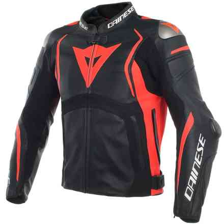 Mugello leather jacket black red fluo Dainese