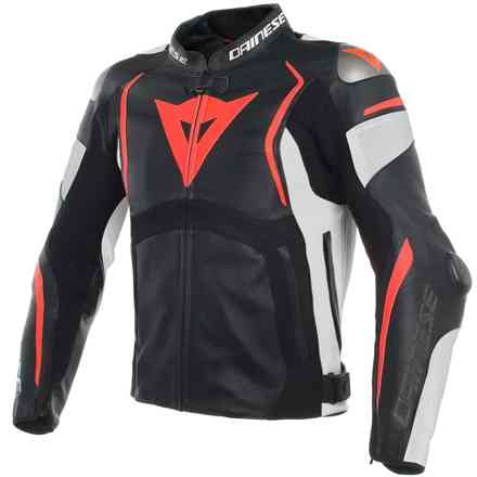 Mugello leather jacket black white red fluo Dainese