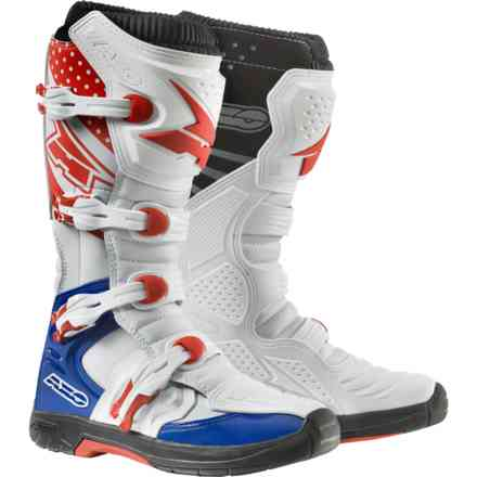 Mx One boots white blue red Axo