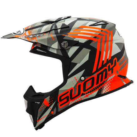 Mx Speed ​​Sergeant Matt Grau / Orange Fluo Helm Suomy