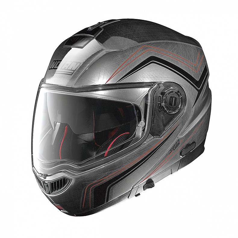 N104 Absolute Como N-Com scratched chrome Helmet  Nolan