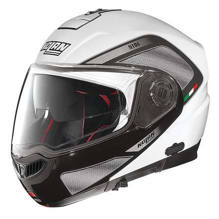N104 Absolute Tech N-Com metal white Helmet  Nolan