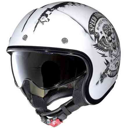 N21 Speed Junkies Scratched flat white Helmet Nolan
