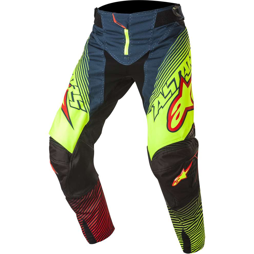 Pantalon Techstar cross petrol-jaune fluo-rouge Alpinestars