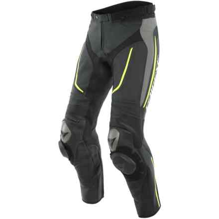 Pantaloni Alpha Perf. Leather Pants Blk/Matt-Gray/ Dainese