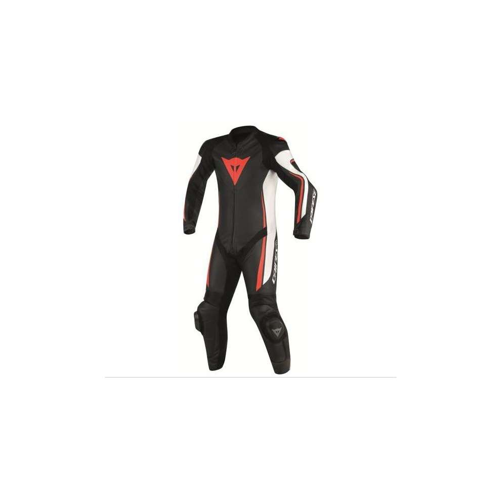 Professional leather en cuir suit Assen perforated black white fluo red Dainese