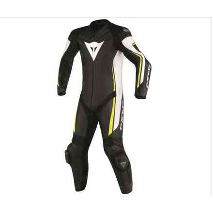 Professional leather en cuir suit Assen perforated black white yellow fluo Dainese