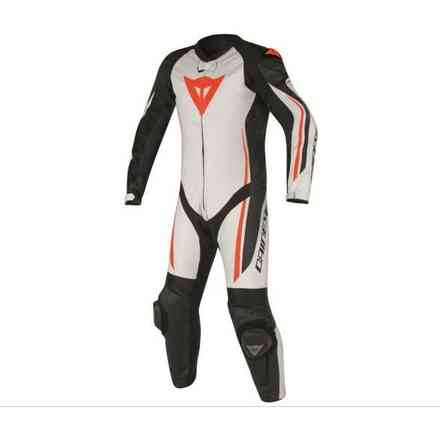 Professional leather en cuir suit Assen perforated white black rosso fluo Dainese