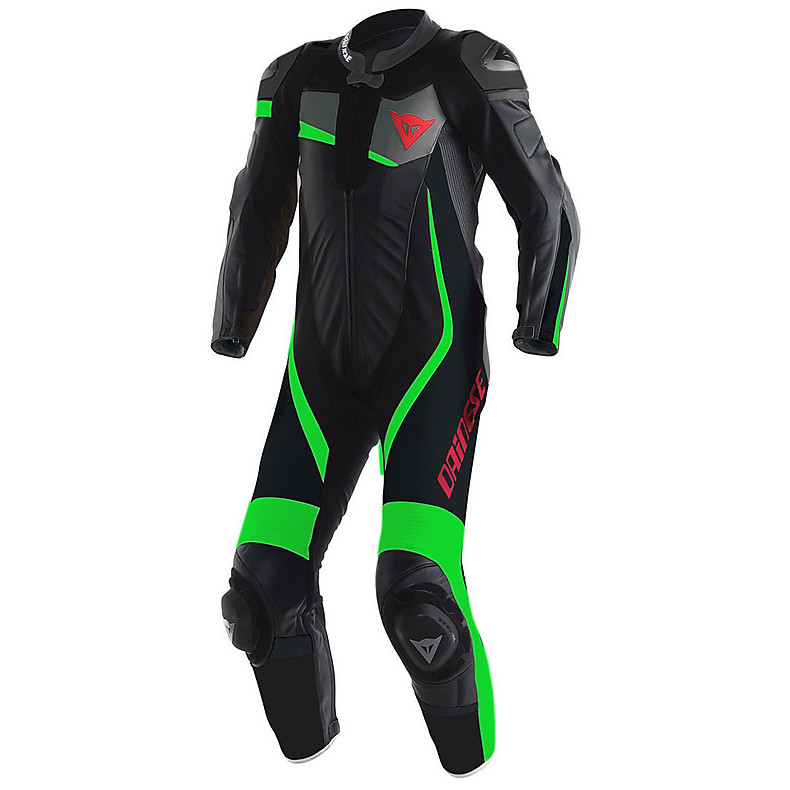 Professional Suit perforated Veloster Black-Anthracite-Green Fluo Dainese