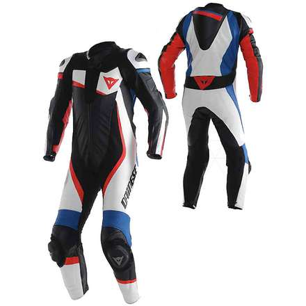 Professional Suit perforated Veloster White-Black-Blue Dainese