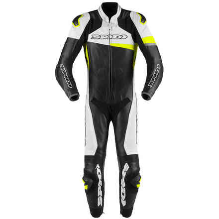 Race Warrior Perforated leather suit black yellow fluo Spidi