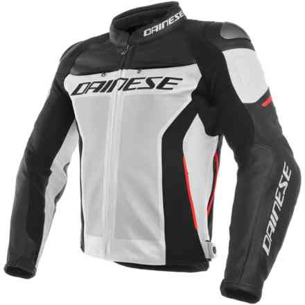 Racing 3 Perforated jacket black white red Dainese
