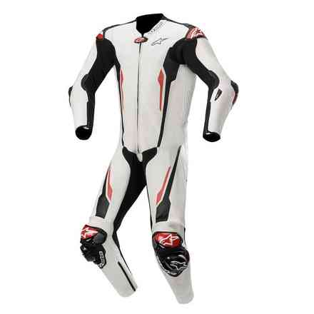 Racing Absolute 1 Pc Tech-Air Comp. white black leather suit Alpinestars