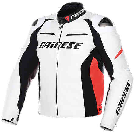 Racing D1 Jacket perforated white-black-red fluo Dainese