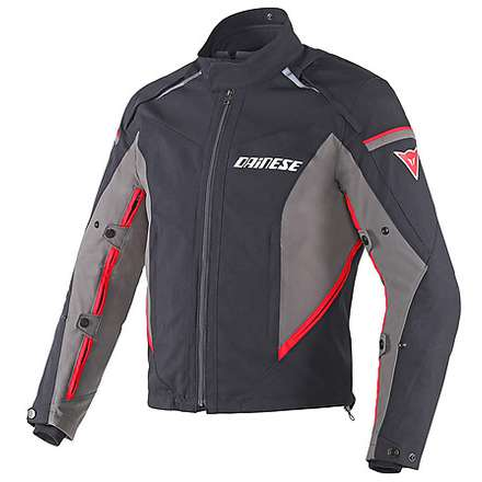 Rainsun jacket black-dark gull gray-red Dainese