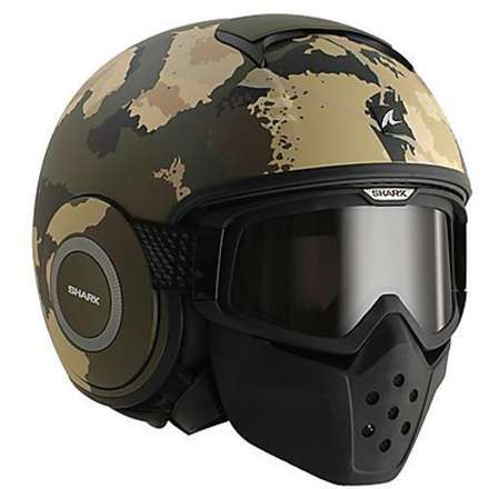 Raw Kurtz Mat Helmet green-ecru-black Shark