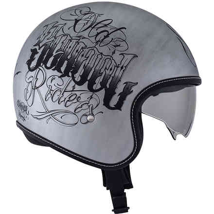 Rokk Old School Rider Scratch Silver Helmet Suomy