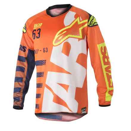 Shirt Racer Braap Orange-Blau-Weiss Alpinestars