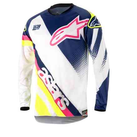 Shirt Racer Supermatic 2018 Weiss-Blau-Gelb Alpinestars