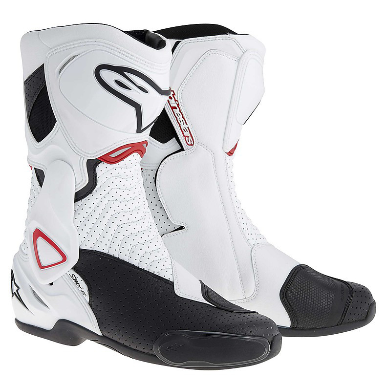 SMX 6 White / Black / Red Vented Boots Alpinestars