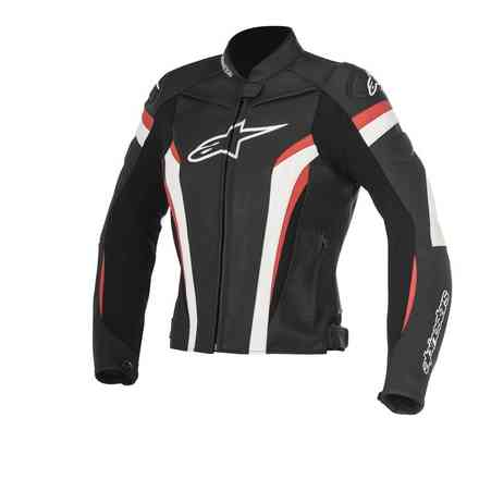 Stella Gp Plus R V2 black white red Leather Jacket Alpinestars
