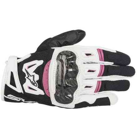 Stella Smx-2 Air Carbon V2 lady Gloves black white fuchsia Alpinestars