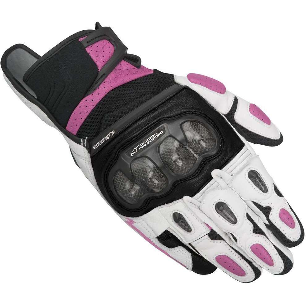 Stella  Sp-x  Air Carbon black-white-fuchsia Gloves Alpinestars