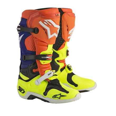 Stiefel Tech 10 Orange Weiss Blau Gelb fluo Alpinestars